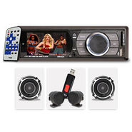 VOX (V5661T) Car MP5 Player with 3inch Colour Display, FM, USB, AUX-in + Remote + Speakers + Tweeters + 4GB USB Drive