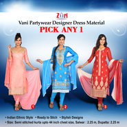 Vani Partywear Designer Dress Material by Zuri (DDM2) - Pick Any One