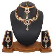 Vendee Fashion Ethnic Kundan Neckalce Set - Red - 8322