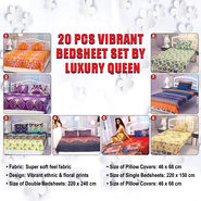 20 Pcs Vibrant Bedsheet Set by Luxury Queen