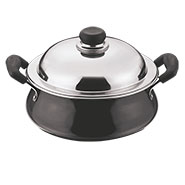 Vinod Black Pearl Hard Anodised Handi Mini with Lid - Black