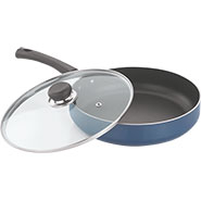 Vinod Zest 240mm Deep Frypan with Tempered Glass Lid - Blue & Black