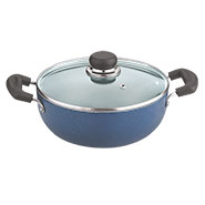 Vinod Zest 220mm Deep Kadai with Tempered Glass Lid - Blue & Black