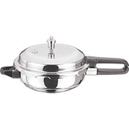 Vinod Induction Friendly SS Sandwich Bottom Pressure Pan With Lid - Silver PPWC- JR