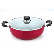 Vinod Zest Induction Friendly 220mm Kadai With Lid - Red & Black