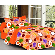 Valtellina Orange Color  Geomatrical  Design Double bedsheet With 2 Pillow cover