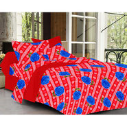 Valtellina Rose  Design Red Color Double bedsheet With 2 Pillow cover