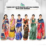 Yamini Set of 6 Printed Art Silk Sarees with Zari Border