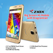 Ziox Big Screen 4G Mobile with Dragontrail