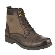 Delize Fabric Leather Boots T-004-Brown