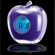 Apple Shape LED Light Alarm Clock - Assorted colour