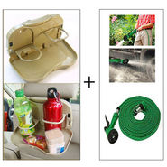 Combo of Multifunctional 10 meter Water Spray Jet Gun + Car Meal & Cup Holder Tray