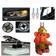 Combo of Hanging Ganesha, Waterproof LED light, Jaguar Shaped car air freshner & Set of 4 Magic light for tyres