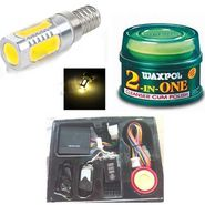 Combo Of Bike central locking, Waxpol 2-in-1 Cleaner Cum Polish -100g & Moter Bike LED Head Light