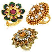 Spargz 3 Enamel Finger Ring In High Gold Finish_Cb375