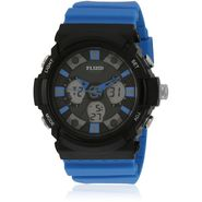 Fluid Analog & Digital Round Dial Watch For Unisex_d08bl01 - Black & Blue