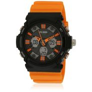 Fluid Analog & Digital Round Dial Watch For Unisex_d08or01 - Black & Orange