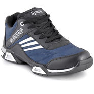 Foot n Style Synthetic Leather Sports Shoes FS 476 -Blue & Grey