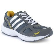 Foot n Style Synthetic Leather Sports Shoes FS 523 -Grey & Yellow