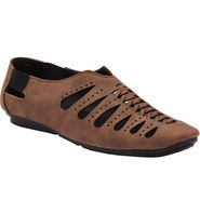 Foot n Style Faux Leather Brown Sandal -Fs639