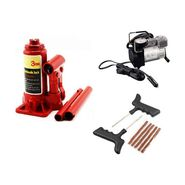 Combo of 3 Ton Hydrollic Car Jack + Air Compressor And Tyre Puncture Repair Kit
