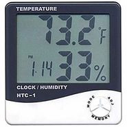 Digital Hygrometer Thermometer Humidity Meter with clock LCD Display HTC-1