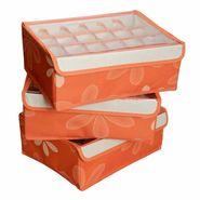 3 Pcs Set Undergarments Innerwear Drawer Organiser Partition Box - orange