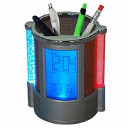 Round Shape Pen Holder with Digital LCD Alarm Clock & Colour Changing Bubble LED Lights  (Colours as per Availability)