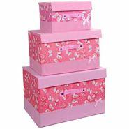 3 PCs Storage Box Cum Organizer Cupboard - Pink
