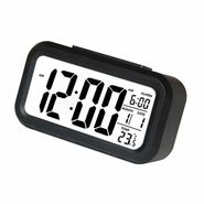 Lcd Screen Digital Alarm Clock With Date & Temperature Display & Backlight - Black