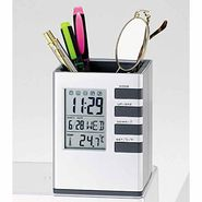 Cube Pen Stand With Digital Clock and Temperature