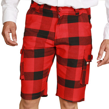 Sparrow Clothings Cotton Cargo Shorts_wjcrsht11 - Red