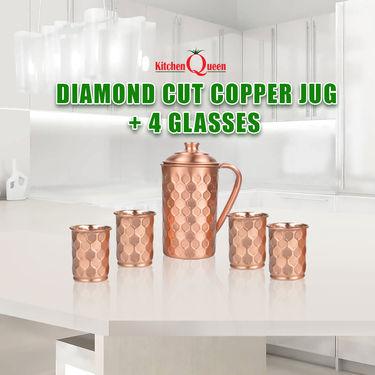 Diamond Cut Copper Jug + 4 Glasses
