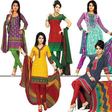 Karishma Set of 5 Ethnic Printed Dress Material (5P3) - AKSO