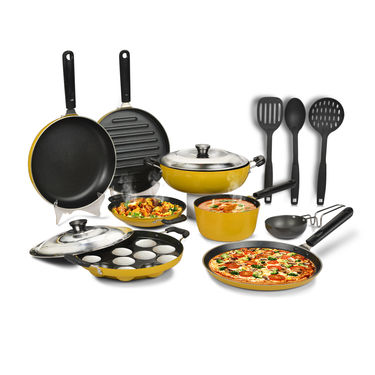 10 Pcs Colored Non Stick Cookware Set + 3 Pcs Kitchen Tool
