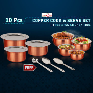 10 Pcs Copper Base Cook & Serving Set + Free 3 Pcs Kitchen Tool