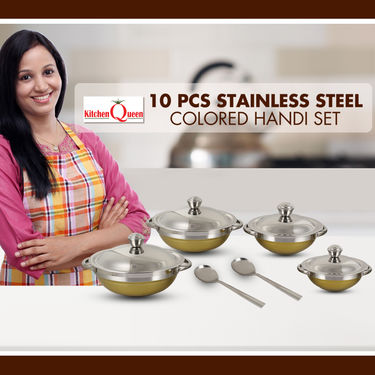 10 Pcs Stainless Steel Colored Handi Set