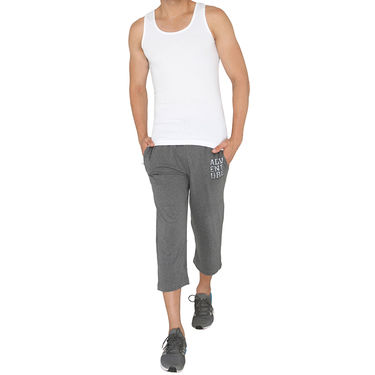 Chromozome Regular Fit 3/4th Short For Men_10002 - Grey