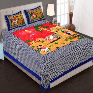 Set of 4 King Size Cotton Jaipuri Sanganeri Printed Bedsheets With 8 Pillow Covers-B4C7