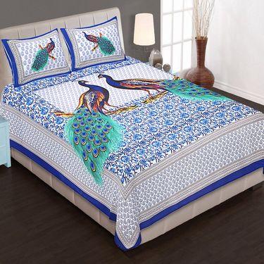 Set of 4 King Size Cotton Jaipuri Sanganeri Printed Bedsheets With 8 Pillow Covers-B4C5
