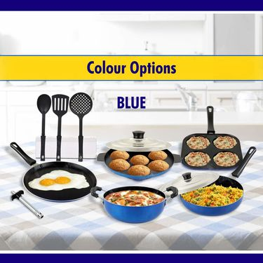 11 Pcs Colored Nonstick Cookware Set