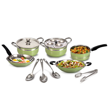11 Pcs Coloured Cookware with Idli Rack