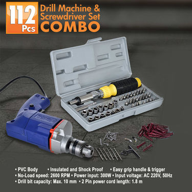 112 Pcs Drill Machine & Screwdriver Set Combo
