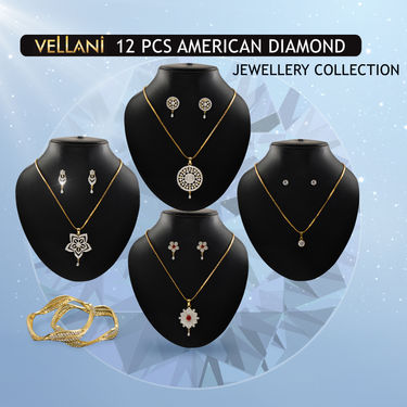 12 Pcs American Diamond Jewellery Collection