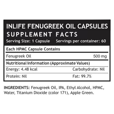 INLIFE Fenugreek Oil (500mg) 60 Veg. Capsules