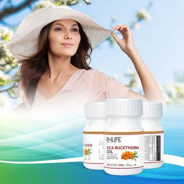INLIFE Sea Buckthorn Oil Omega 3 6 7 9 fatty acids Supplement, 500mg (30 Veg. Caps.)