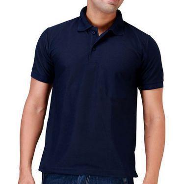 Velgo Club Plain Polo Neck Half Sleeves T Shirt - Navy_NPKE-TS-25