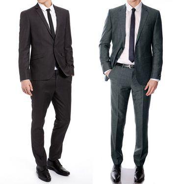 Pack of 2 Vimal Suit Length (Coat + Trouser) For Men - Black & Blue