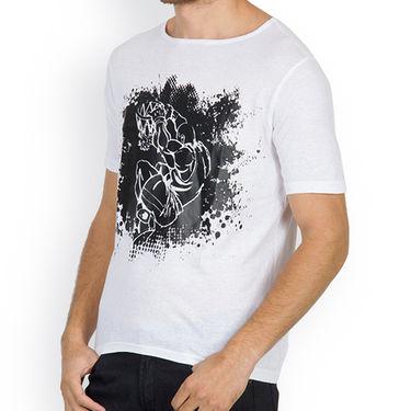 Incynk Half Sleeves Printed Cotton Tshirt For Men_Mht201wht - White
