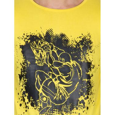 Incynk Half Sleeves Printed Cotton Tshirt For Men_Mht201yl - Yellow